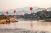 Hot Air Balloons Sunrise Laos — Stock fotografie