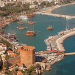 Alanya Harbor Tower Ship — Stock Photo