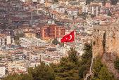 Turkish Flag Alanya — Stock Photo