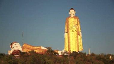 Big Buddha Monywa Panorama Left — Vídeo de stock