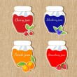 Vector jam jar set — Stock Vector