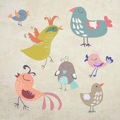 Pássaros coloridos em fundo retrô — Vetor de Stock