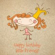 Stock Vector: Birthday card with girl Princess . Happy birthday. Vector art-illustration.
