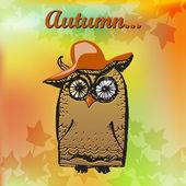 Happy Halloween cute owl card. — Stock Vector
