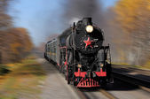 Steam train goes fast. — Stock Photo