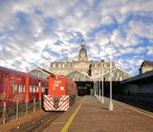 Passenger train and locomotive. — Stock Photo