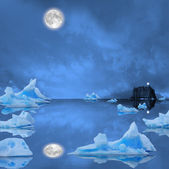 Icebergs floating in the midnight sea. — Stock Photo