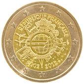 Francuskie monety 2 euro. — Zdjęcie stockowe