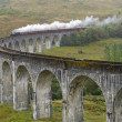 Steam train on Glenfinnan viaduct. — Stock Photo