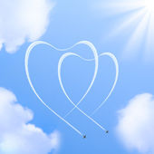 Two hearts shapes in the sky. — Stock Photo