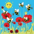 Bees, ladybirds on the meadow. — Stock Vector #45979379
