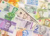 Banknotes from different countries. — Stock Photo