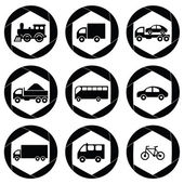 Transport monochromatic icons. — Stock Vector