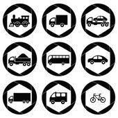 Transport monochromatic icons. — Stock Vector