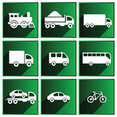 Transport icons with shadows on the green background. — Stock Vector