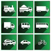 Icone di trasporto con ombre sullo sfondo verde. — Vettoriale Stock