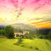 Amazing sunrise above Provence farmland. — Stock Photo