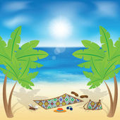 Things for the rest under the palms on the beach. — Stock Vector