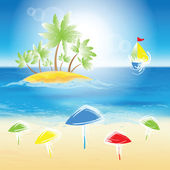 Sand beach, small island. — Stock Vector