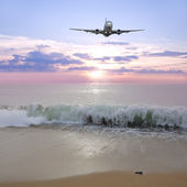 Landing of the plane. — Stock Photo