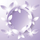 Background with violet butterflies around the circle. — Stock Vector