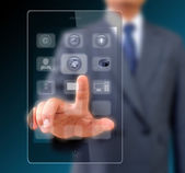 Businessman touching screen on modern mobile smart phone — Stock Photo