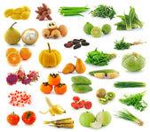 Raccolta frutta e verdura, isolata su sfondo bianco — Foto Stock
