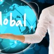 Stock Photo: Holding global in his hand , creative concept
