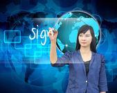 Businesswoman hand writing sign — Stock Photo