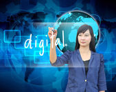 Businesswoman hand writing digital — Stock Photo