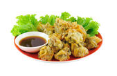 Dumplings filled on red plate — Stock Photo
