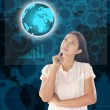 Woman looking world technology — Stock Photo