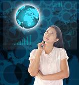 Woman looking world technology — Stock Photo