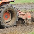 Tractor with cultivator prepares field for seeding. — ストック写真