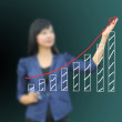 Business woman drawing graph — Foto Stock