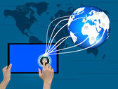 Holding tablet computer in his hand on abstract the world technology — Stock Photo