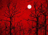 Halloween background. Bloody foggy night at graveyard with bats flying and full moon in the background. — Stock Photo