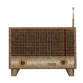Vintage radio icon mulberry paper stick on white background — Stock Photo