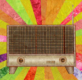 Vintage radio icon mulberry paper stick — Stock Photo