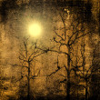 Photo composition with full moon at night,dead tree — Stock Photo