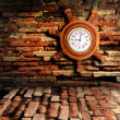 Old clock on the old wall — Stock Photo