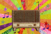 Vintage radio icon mulberry paper stick — Stock Photo
