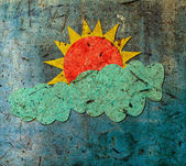Sun and cloud with mulberry paper — Stock Photo