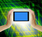 Hand to hold card, mobile phone, tablet PC on abstract Technology — Stockfoto
