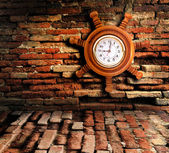 Old clock on the old wall — Stock fotografie