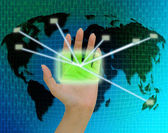 Hands with world mail delivery on world map background — Stock Photo