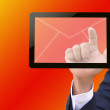Businessman hand pushing button on a touch screen interface — Stock Photo