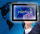 Businessman hand pressing interface button on a touch screen interface — Stock Photo