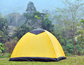 Camping tent on a shore in a morning light — Stock Photo