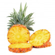 Pineapple slice isolated over white background. — Stock Photo